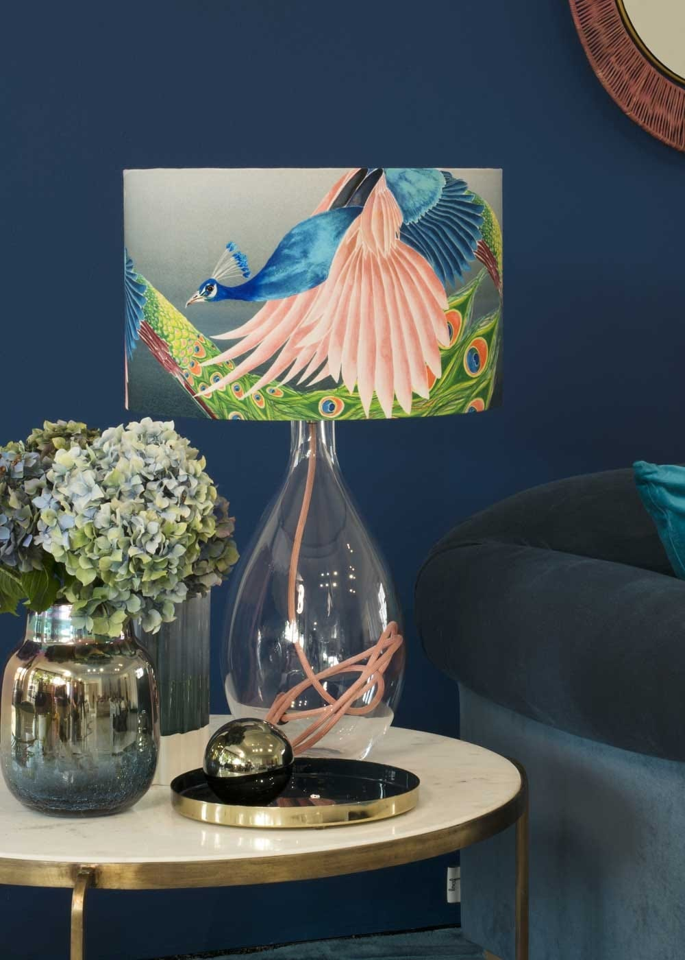 Peacock lampshade on a crystal glass base with pink flex