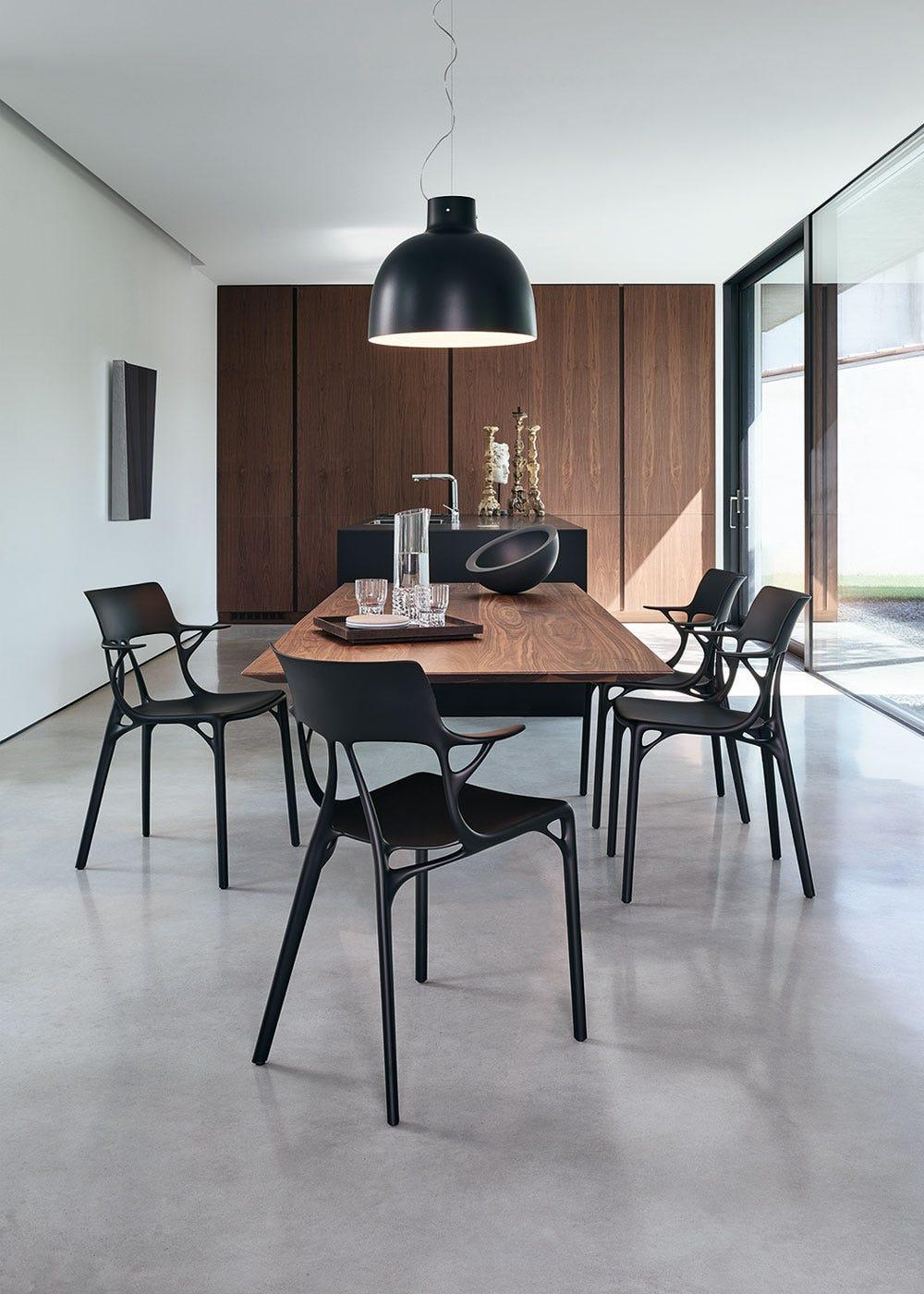 As shown: AI chair in black
