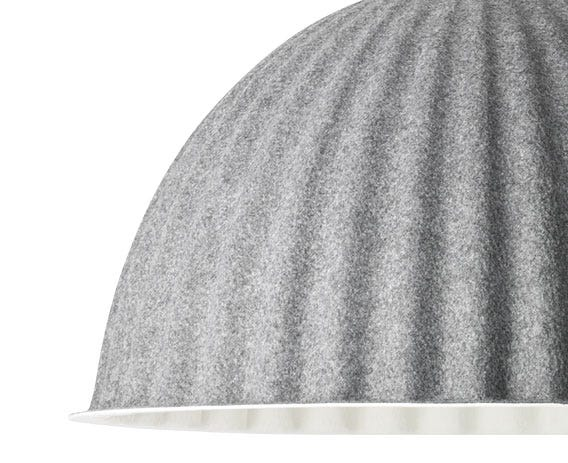 The light is made from recycled plastic felt which works to absorb sound, helping improve the acoustics of a room.