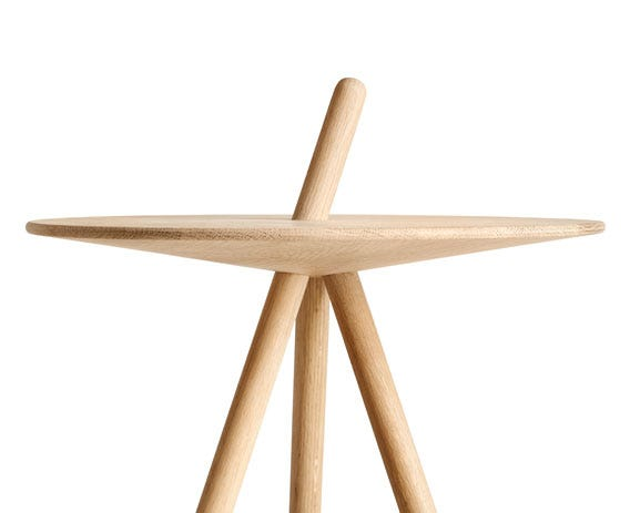 One of the legs is extended through the tabletop and functions as a handle making it easy to move around.