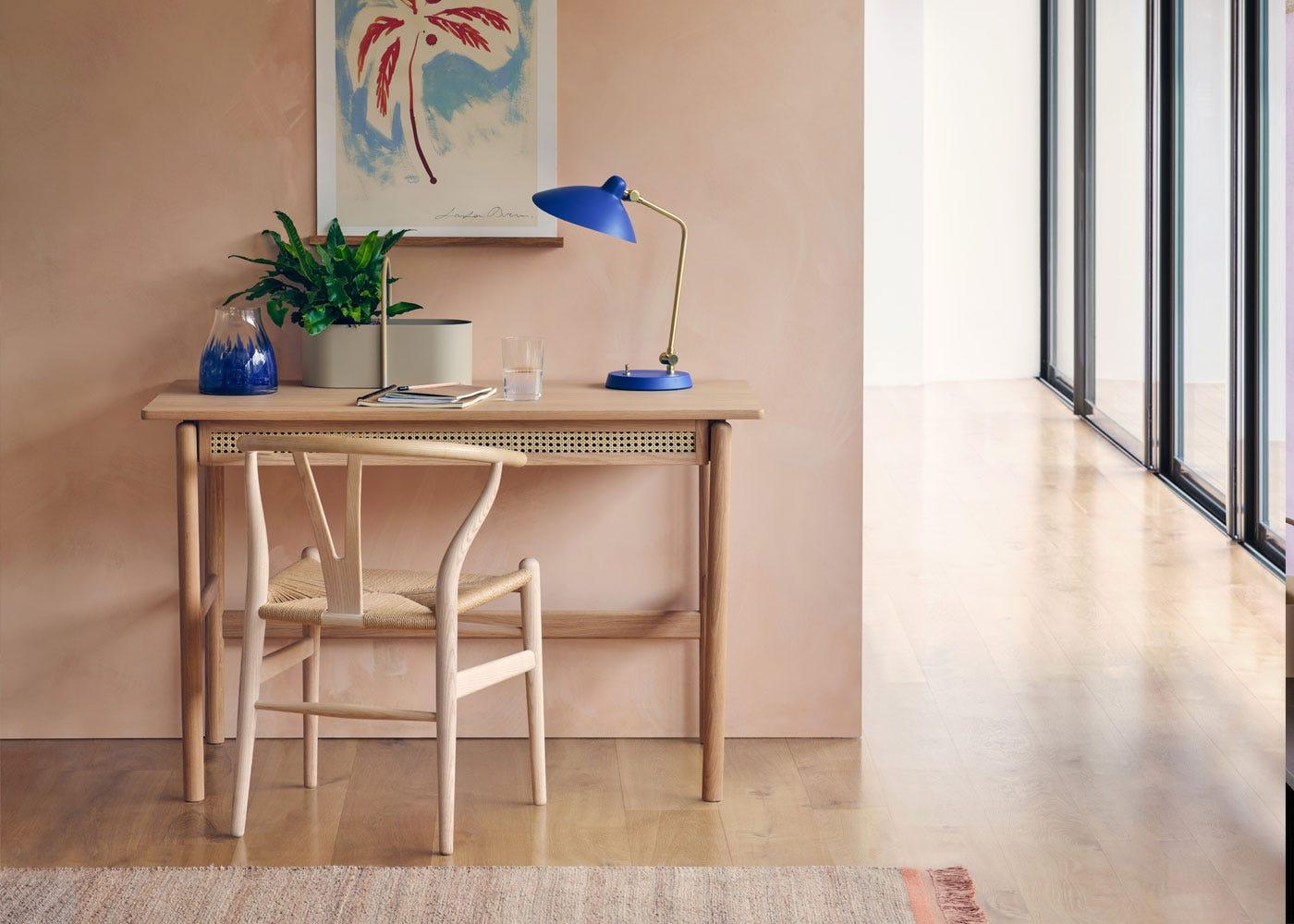 Milton blue table lamp, Flette desk with CH24 wishbone chair.