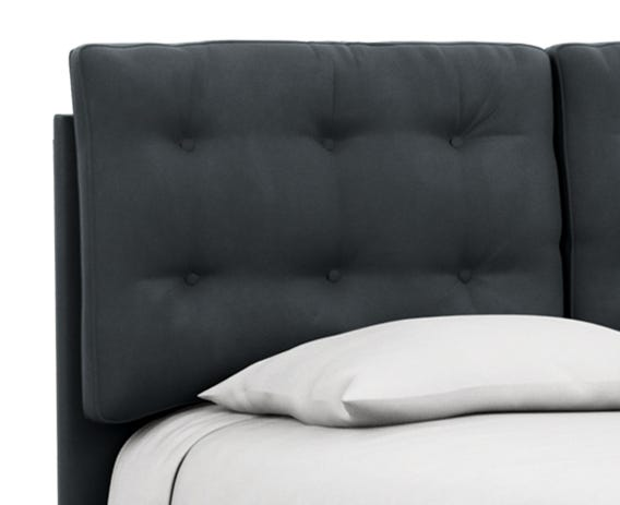Cushioned headboard is ideal for those who like to read in bed with extra support