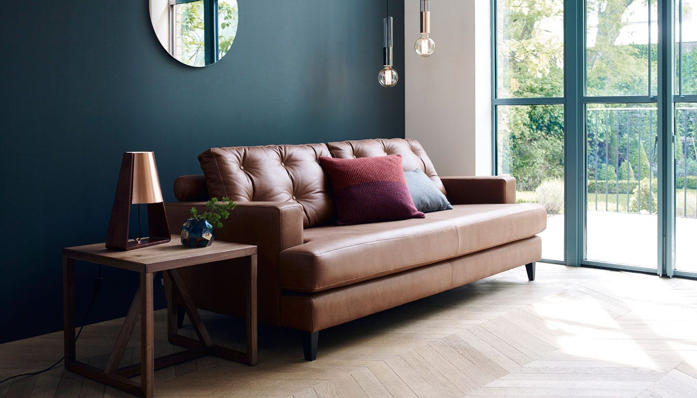 mistral 3 seater sofa leather cognac black feet 3 seater sof