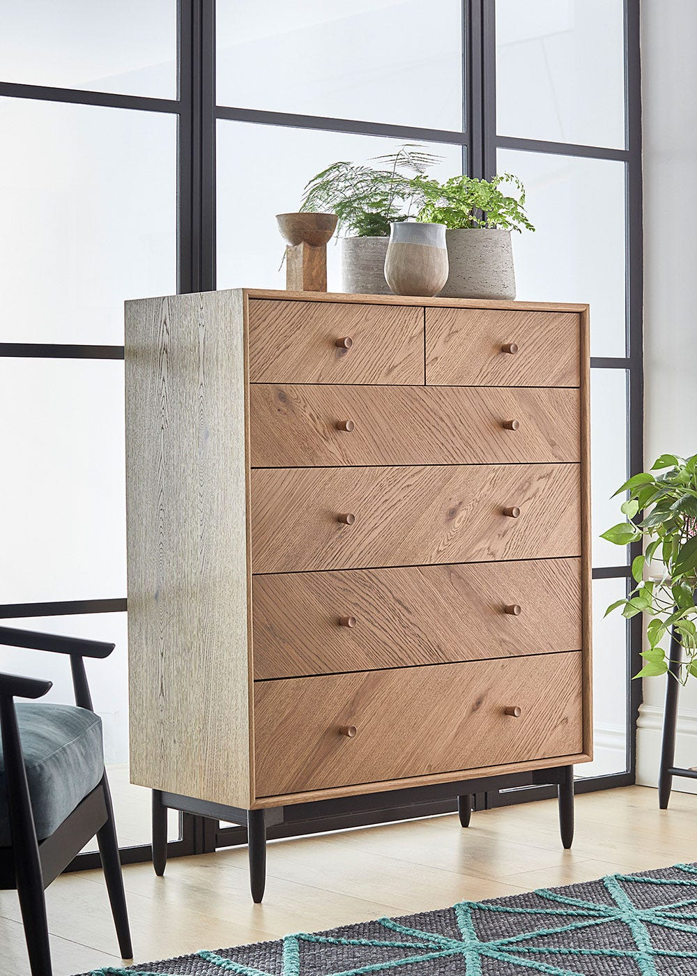 As Shown: Monza 6 drawer chest