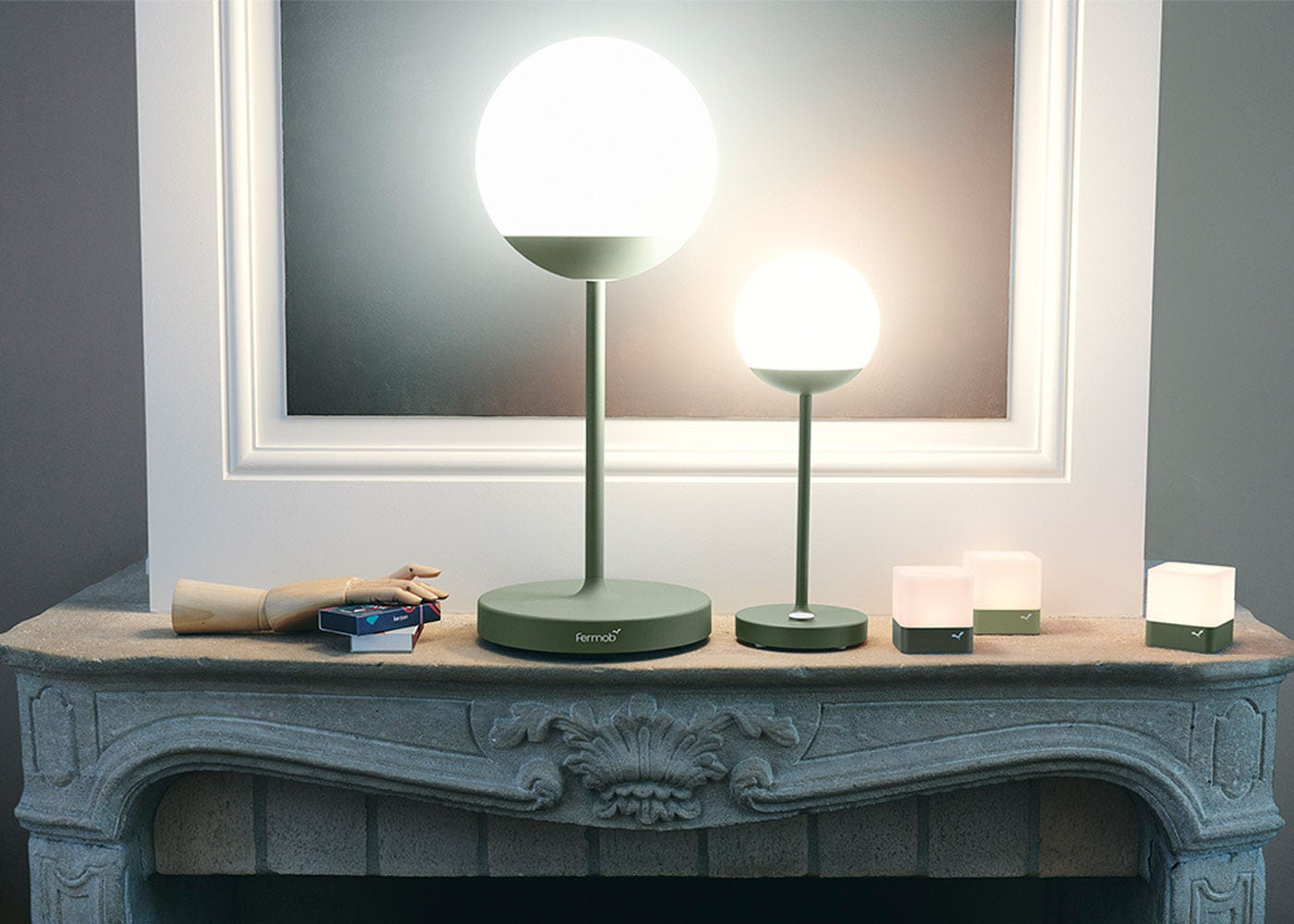 As shown: Mooon outdoor table lamp cactus finish - on.