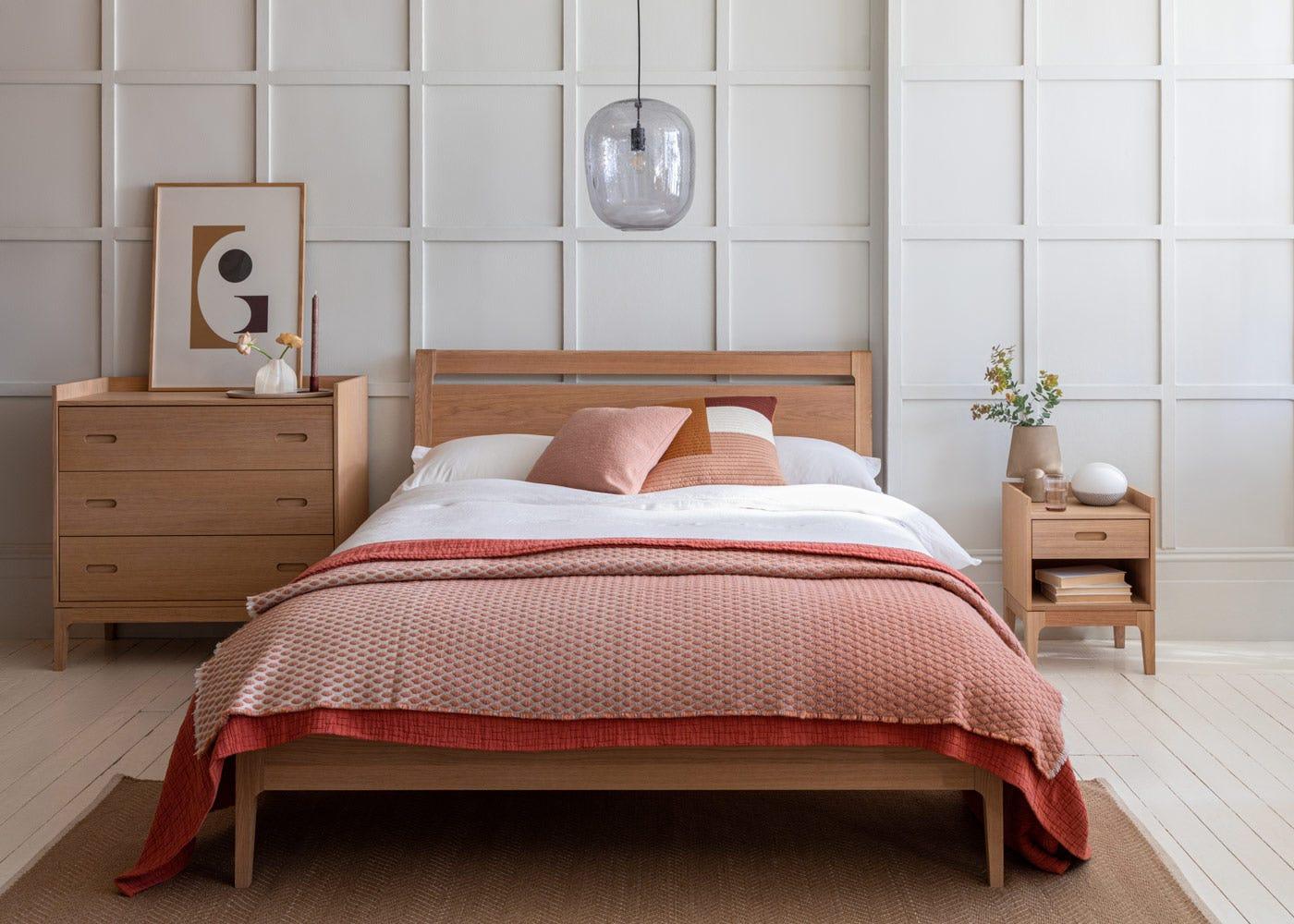Morten bed with oak headboard