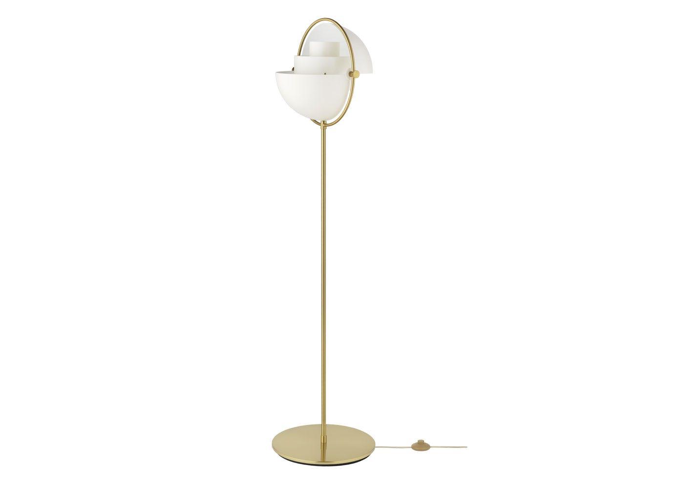 Multi-Lite Floor Lamp Brass Base White Shade Configuration