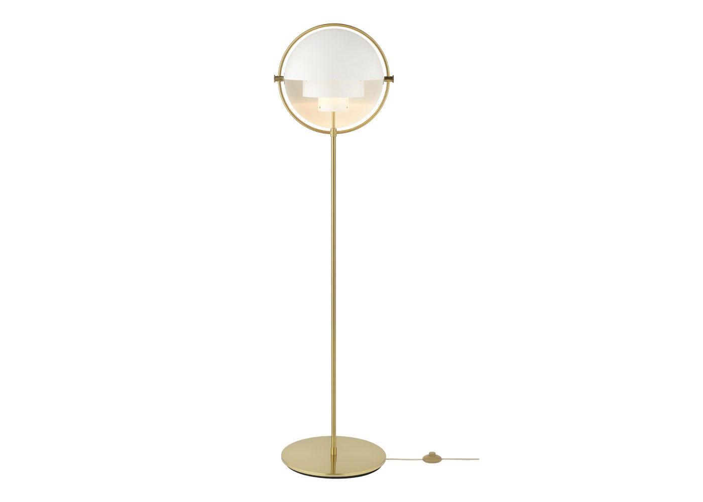 Multi-Lite Floor Lamp Brass Base White Shade .
