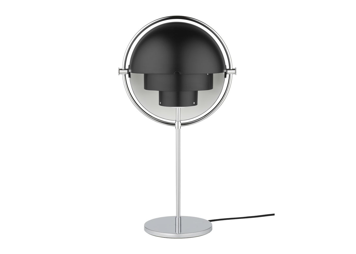 As shown: Multi Lite table lamp chrome base and black shade - Off.