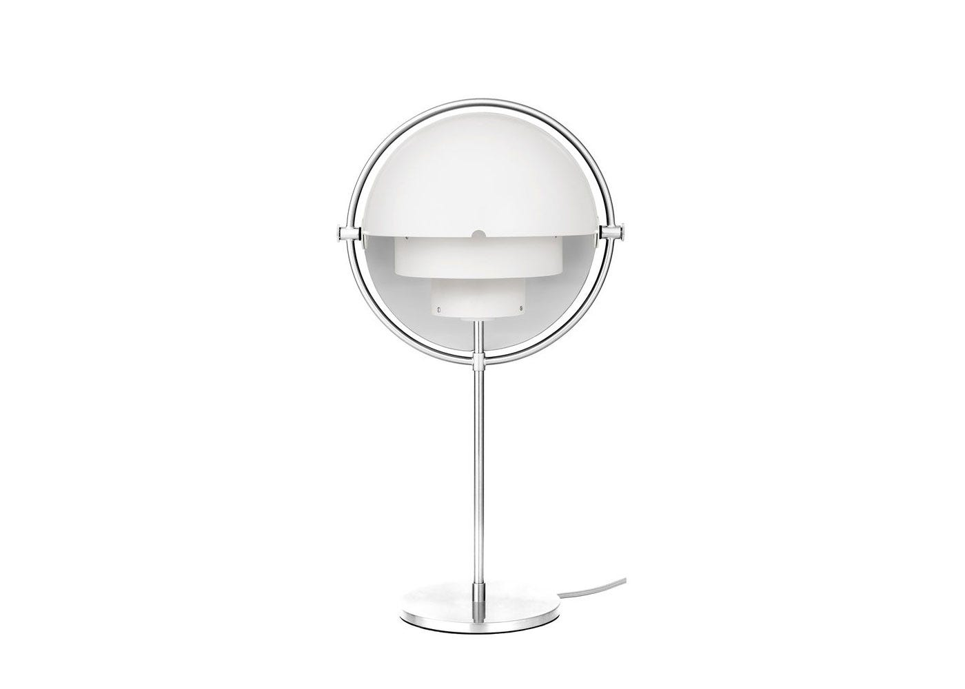 As shown: Multi Lite table lamp chrome base and white shade.