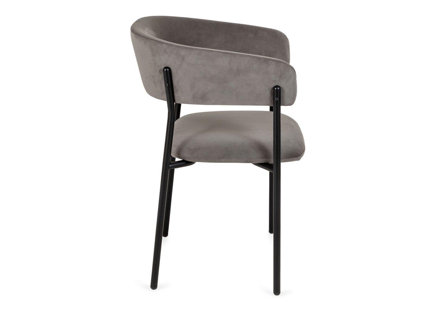 As shown: Neo velvet dining chair upholstered in Thunder Black velvet - Side profile.
