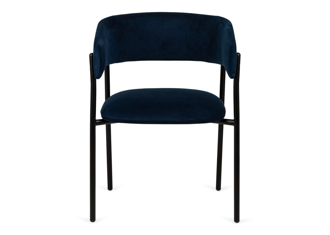 As shown: Neo velvet dining chair upholstered in indigo velvet - Front profile.