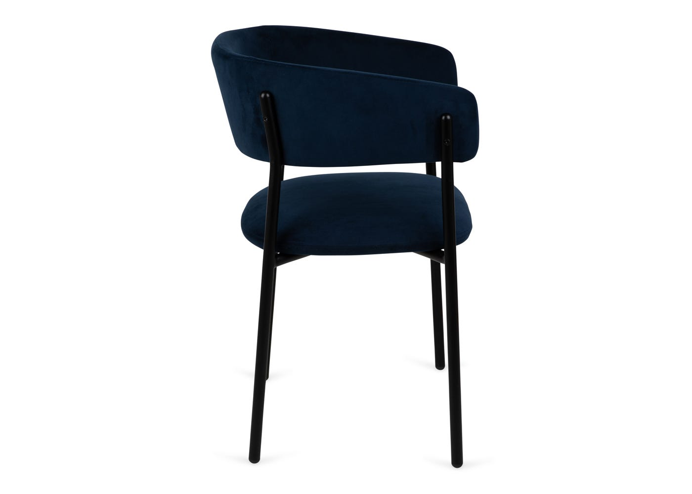 As shown: Neo velvet dining chair upholstered in indigo velvet - Side profile.