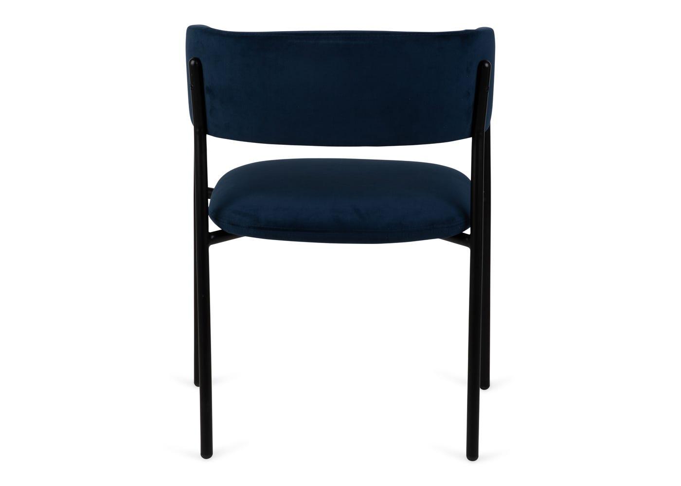 As shown: Neo velvet dining chair upholstered in indigo velvet - Rear profile.