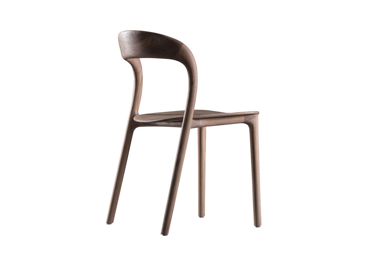 As Shown: Neva Light Dining Chair Walnut Front Angle
