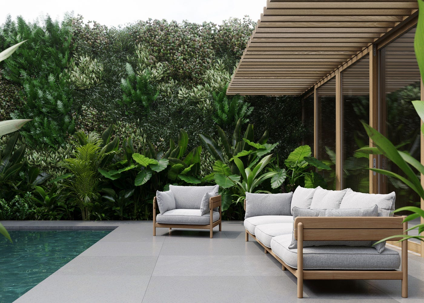 As shown: Tanso Outdoor Sofa Armchair and 3 seater sofa in grey.