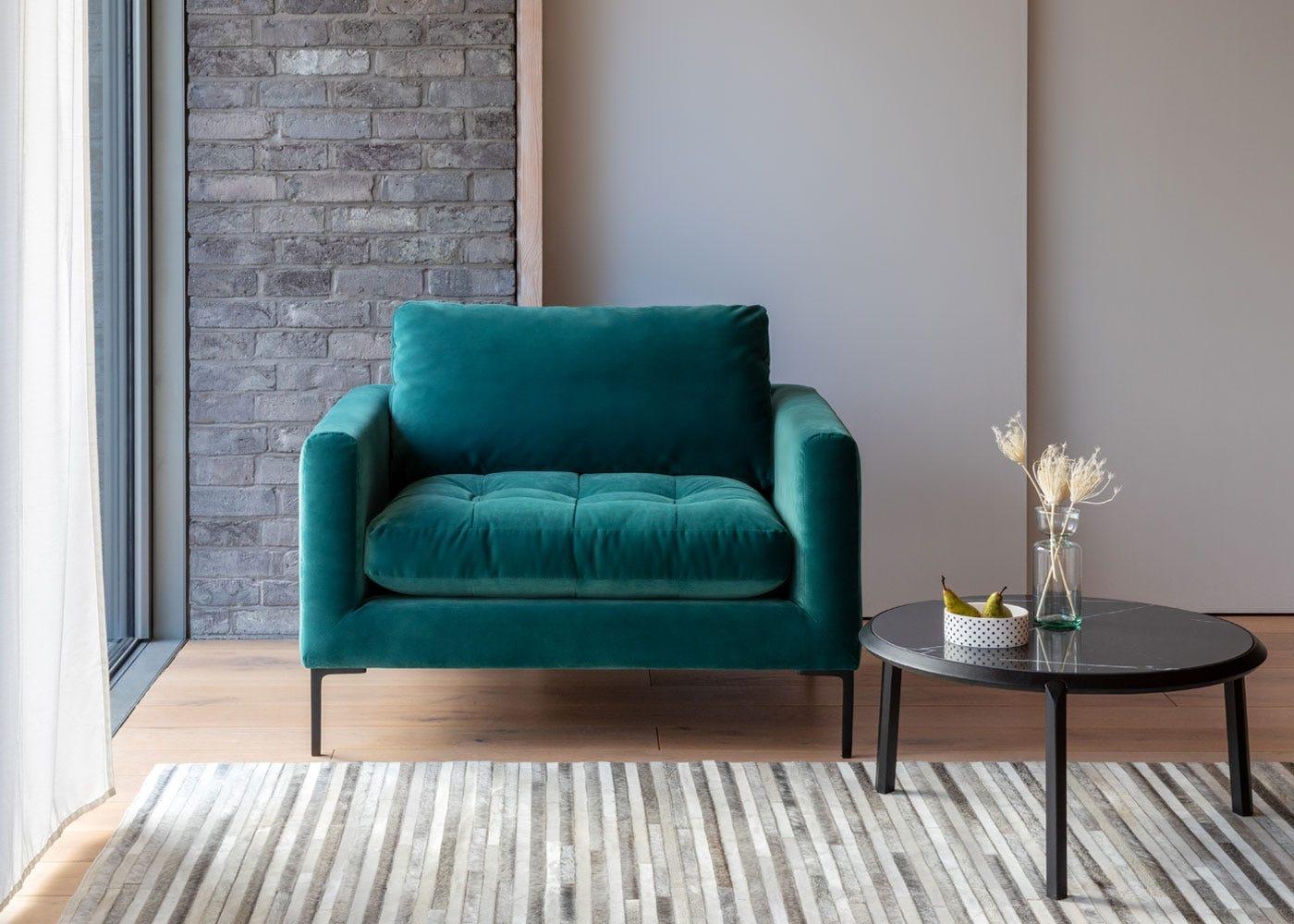 Eton love seat, Notch coffee table.