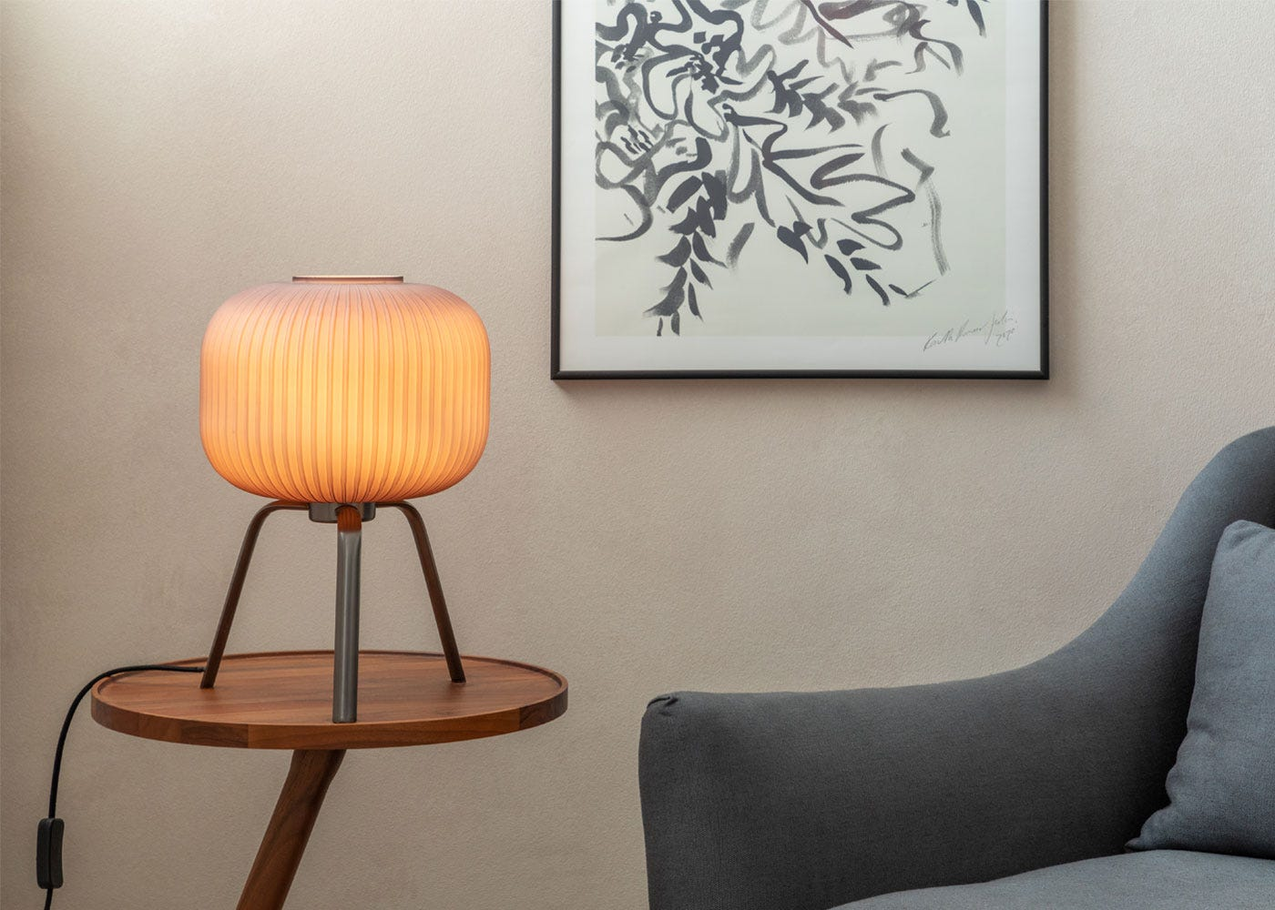 Opal Lantern Table Lamp Grey  - On