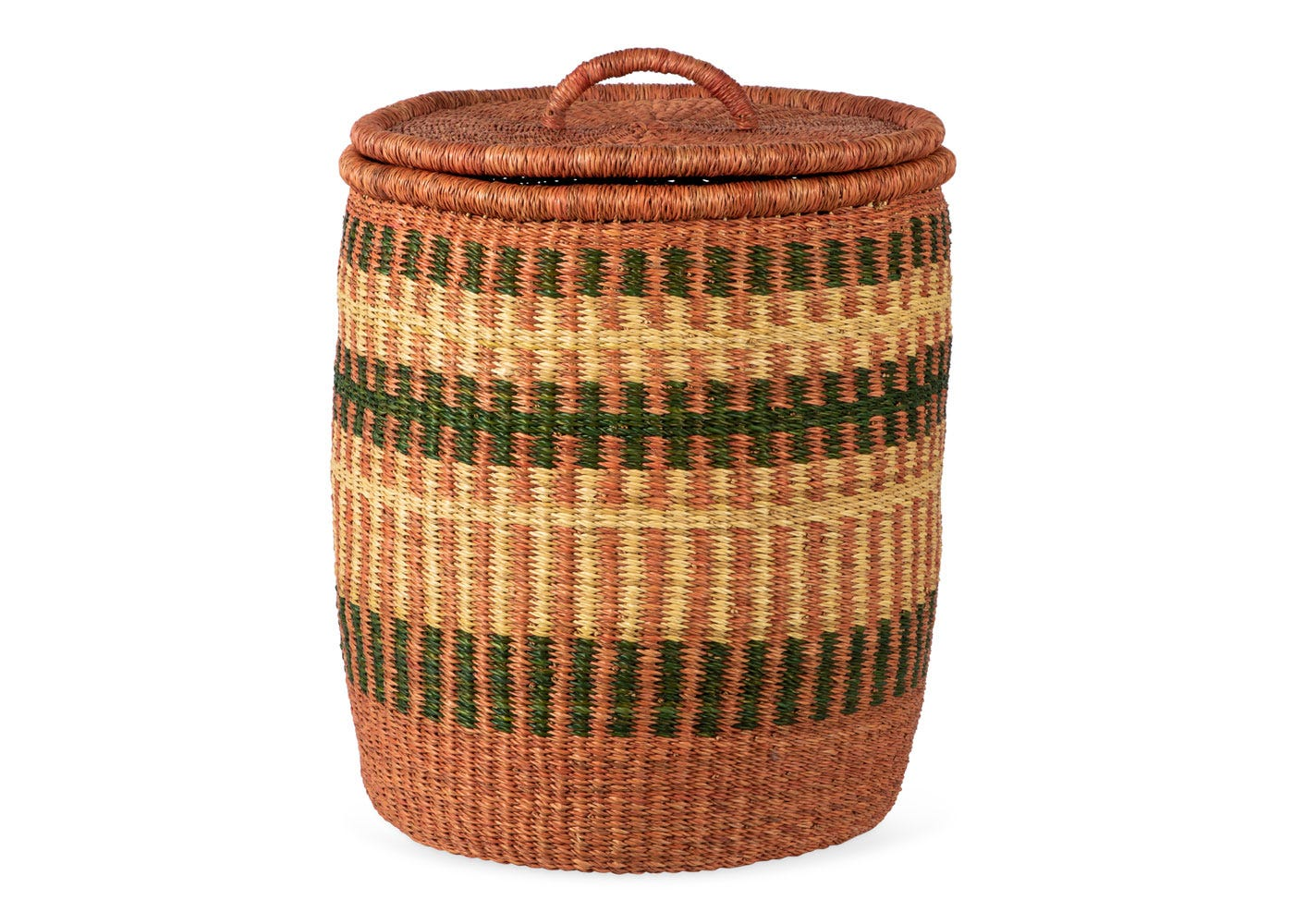 As Shown: Handwoven Laundry Basket in Clay Pink and Green