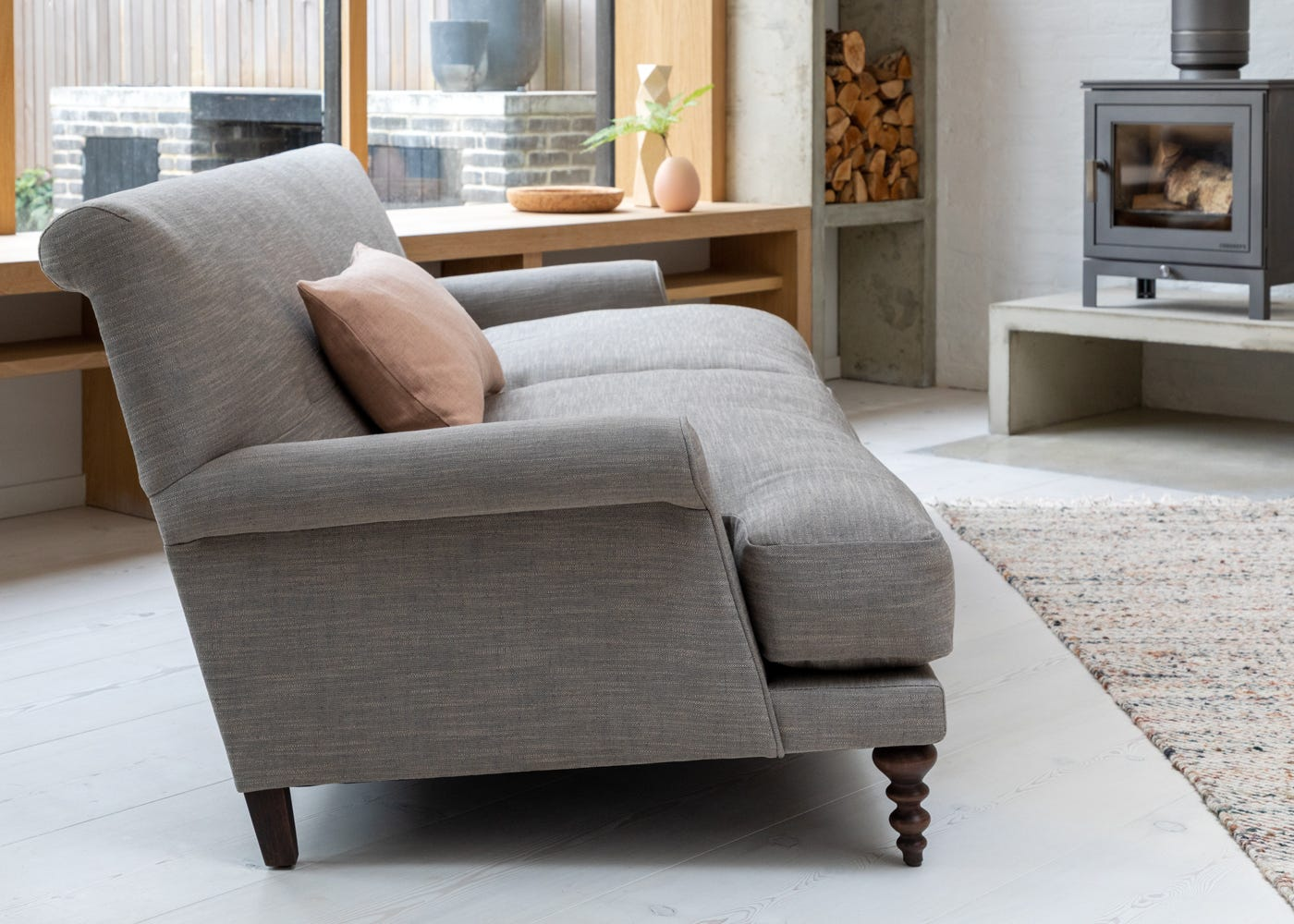 Oscar Formal 3 Seater Sofa in Broad Weave Pebble. The Oscar Formal sofa offers a tall, upright position