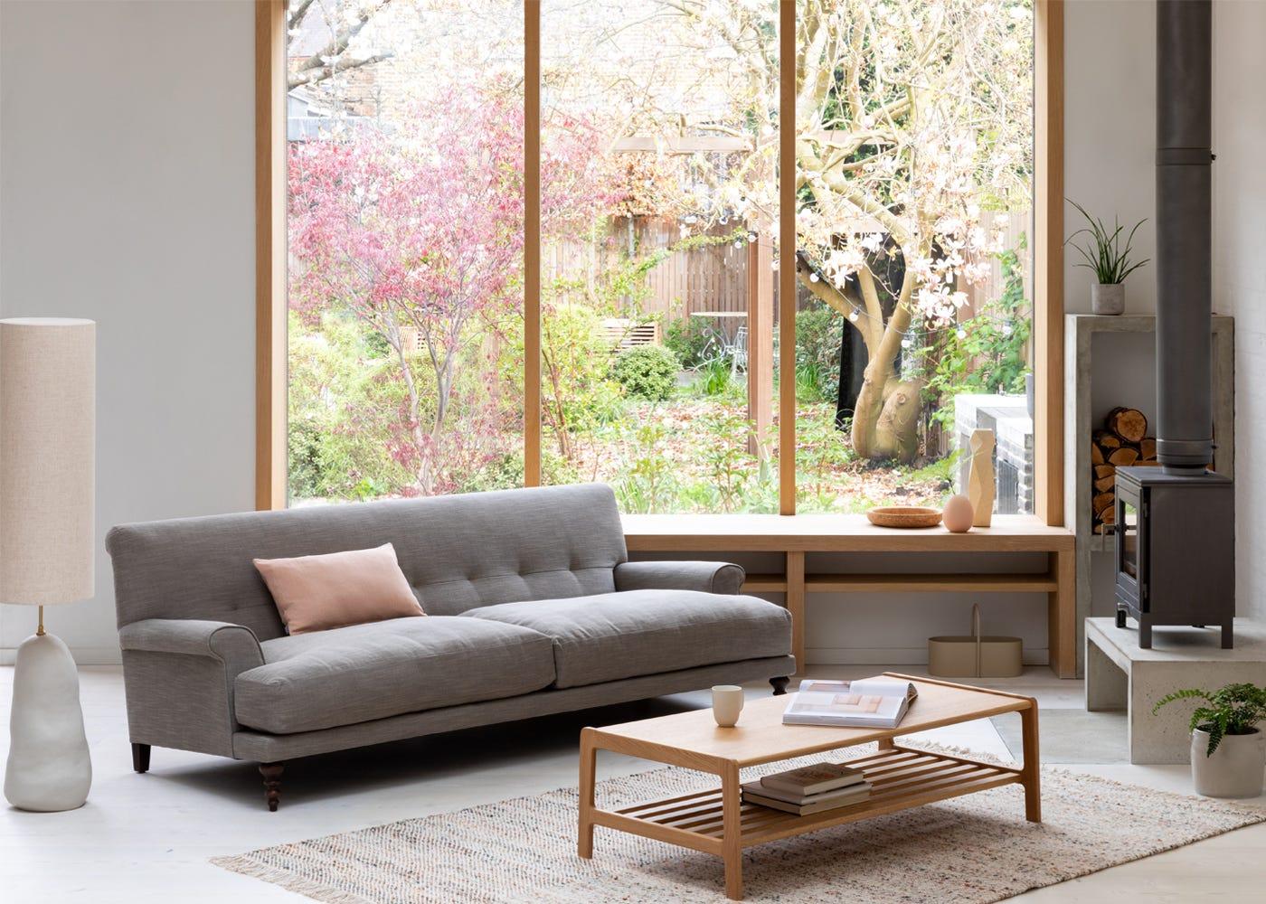 Oscar Formal 3 Seater Sofa in Broad Weave Pebble