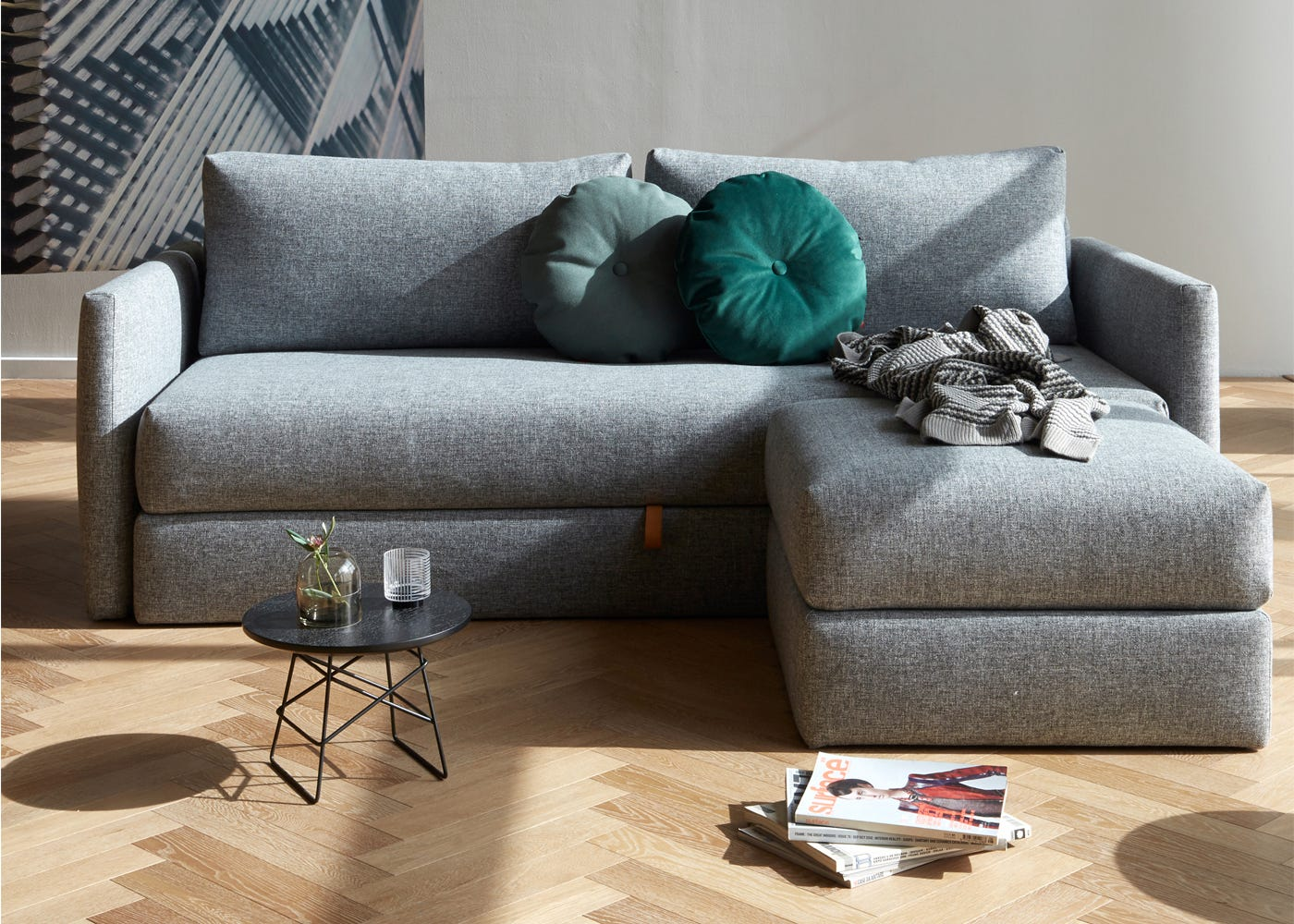 Oswald Sofa Bed (in Dessin Twist). Here you can see how the foostool can make the sofabed into a corner chaise.