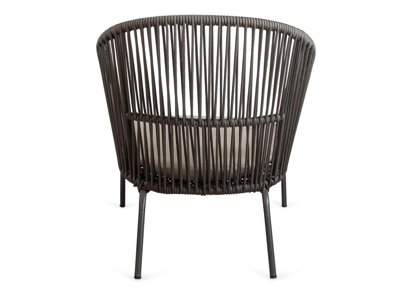As shown: Filo outdoor chair & ottoman - Rear profile.