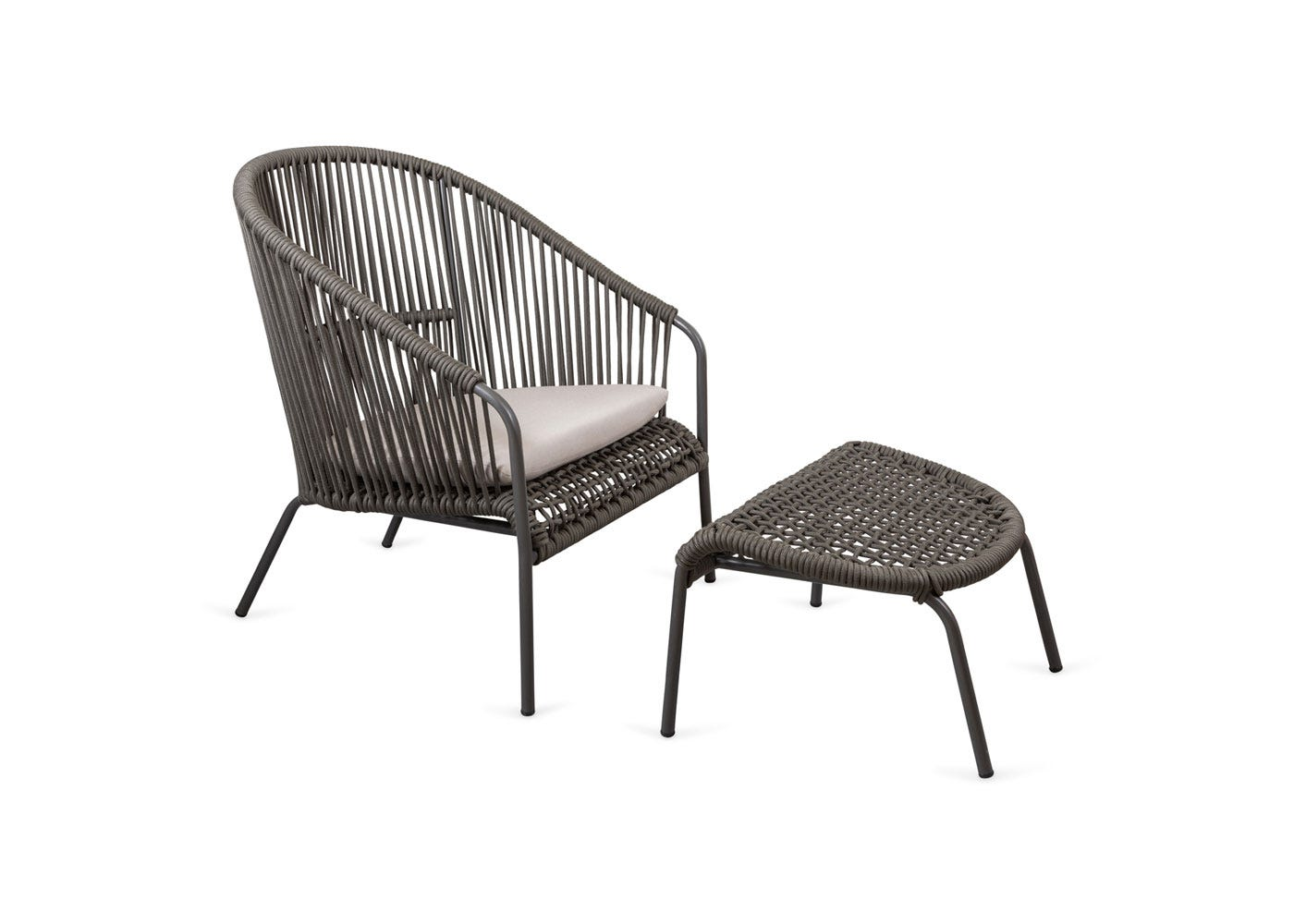 As shown: Filo outdoor chair & ottoman - Side profile.