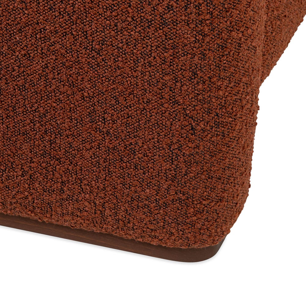 Walnut stain or natural solid legs run the length of the arm rest to elevate the sofa beautifully with clean lines