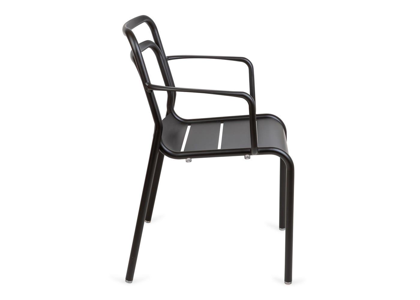 As shown: Petra outdoor armchair in dark grey - Side profile.