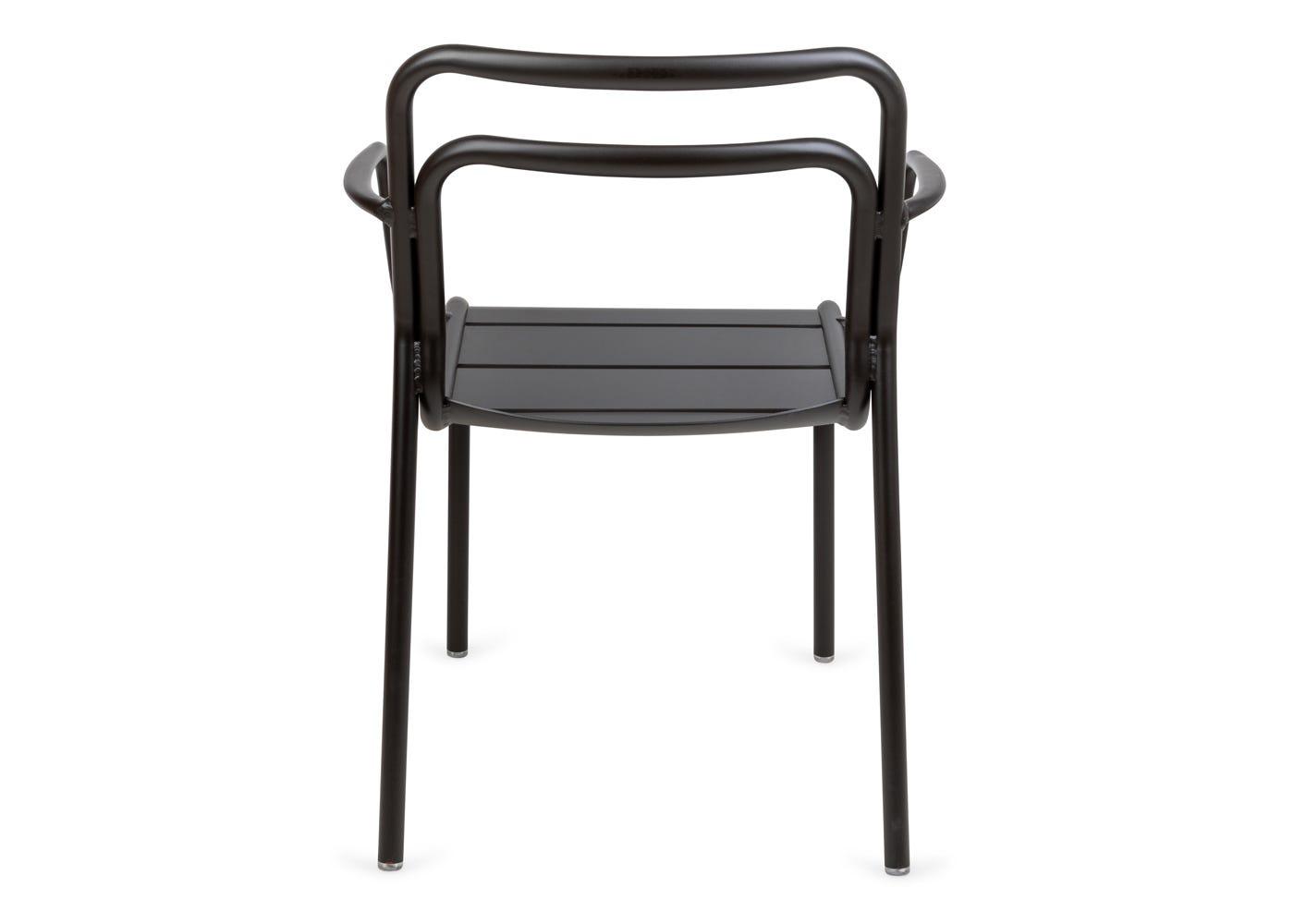 As shown: Petra outdoor armchair in dark grey - Rear profile.