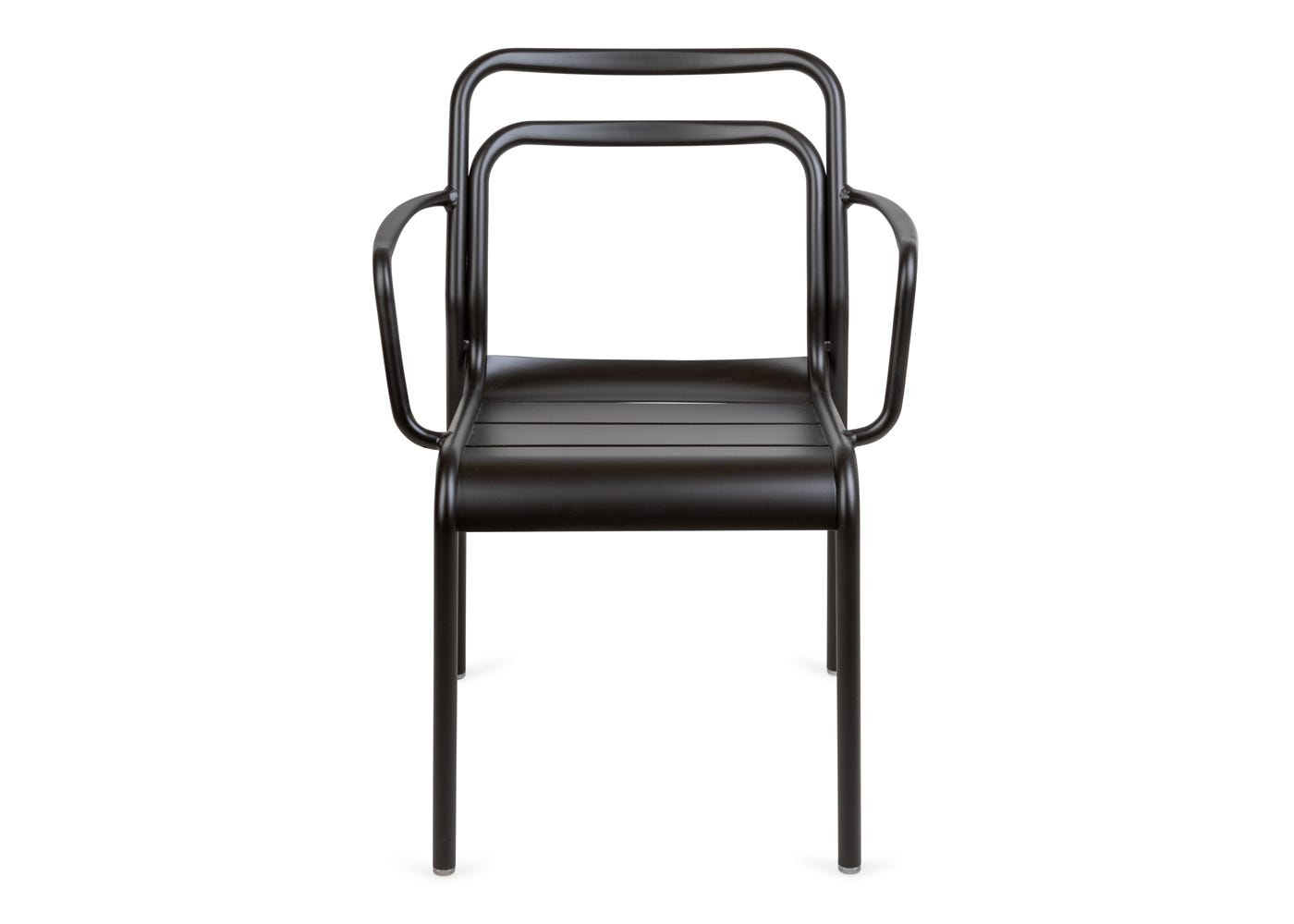 As shown: Petra outdoor armchair in dark grey - Front profile.