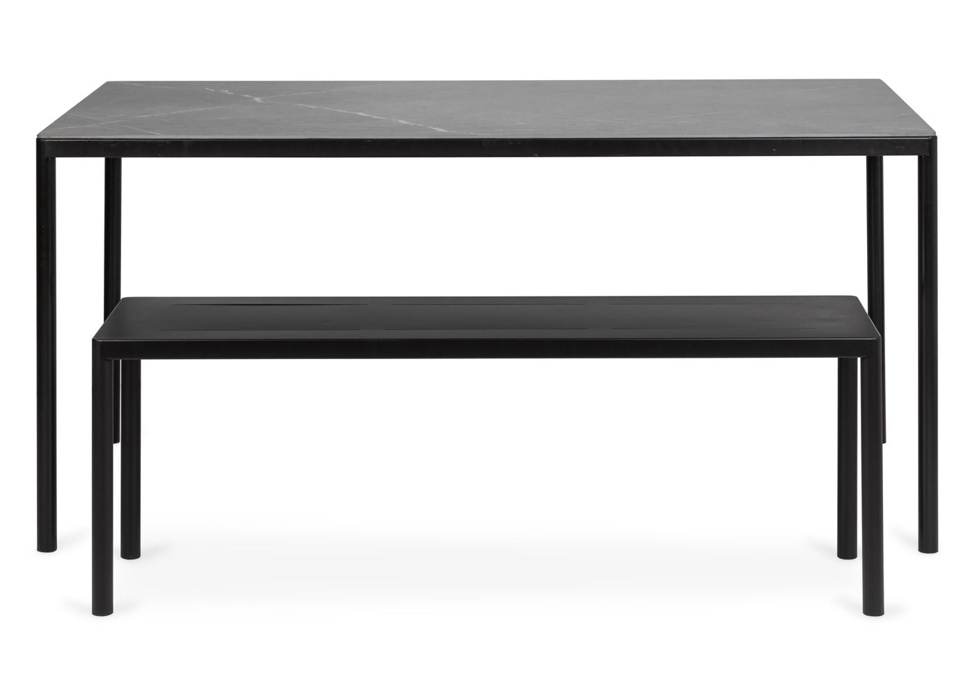 As shown: Petra outdoor table & bench in dark grey (bench sold separately). ;