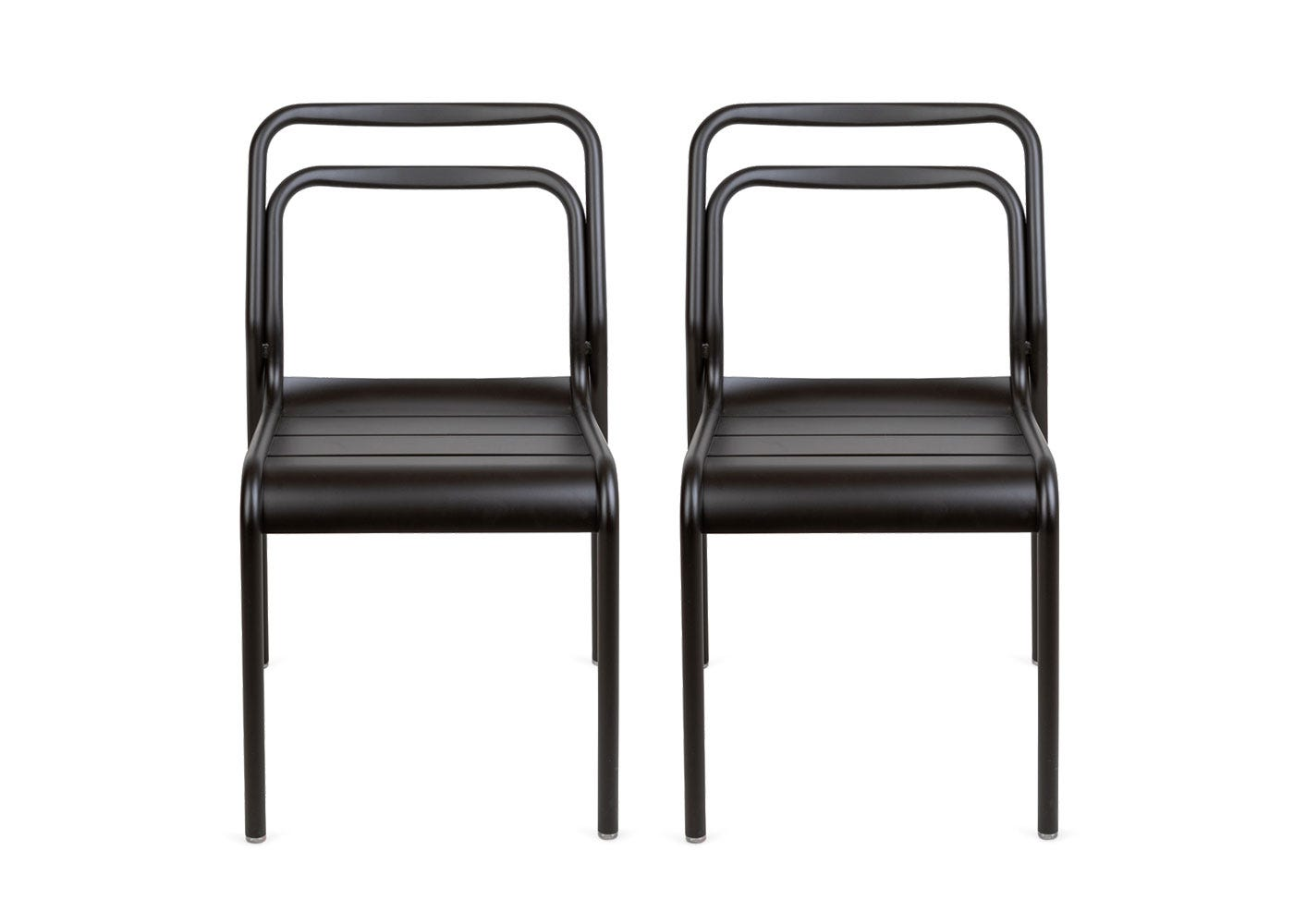Petra pair of outdoor side chairs in dark grey.