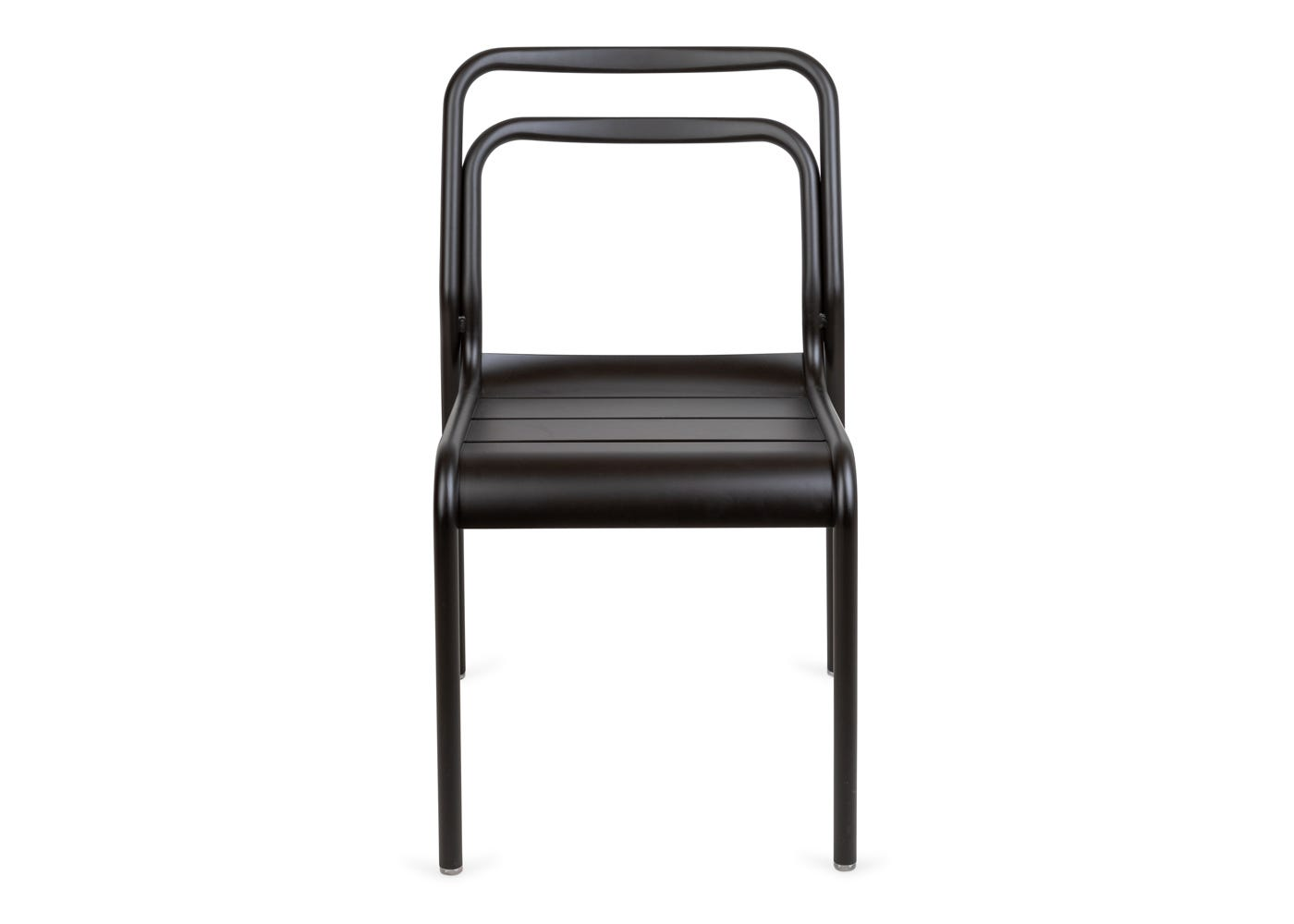 Petra outdoor side chair in dark grey - Front profile.