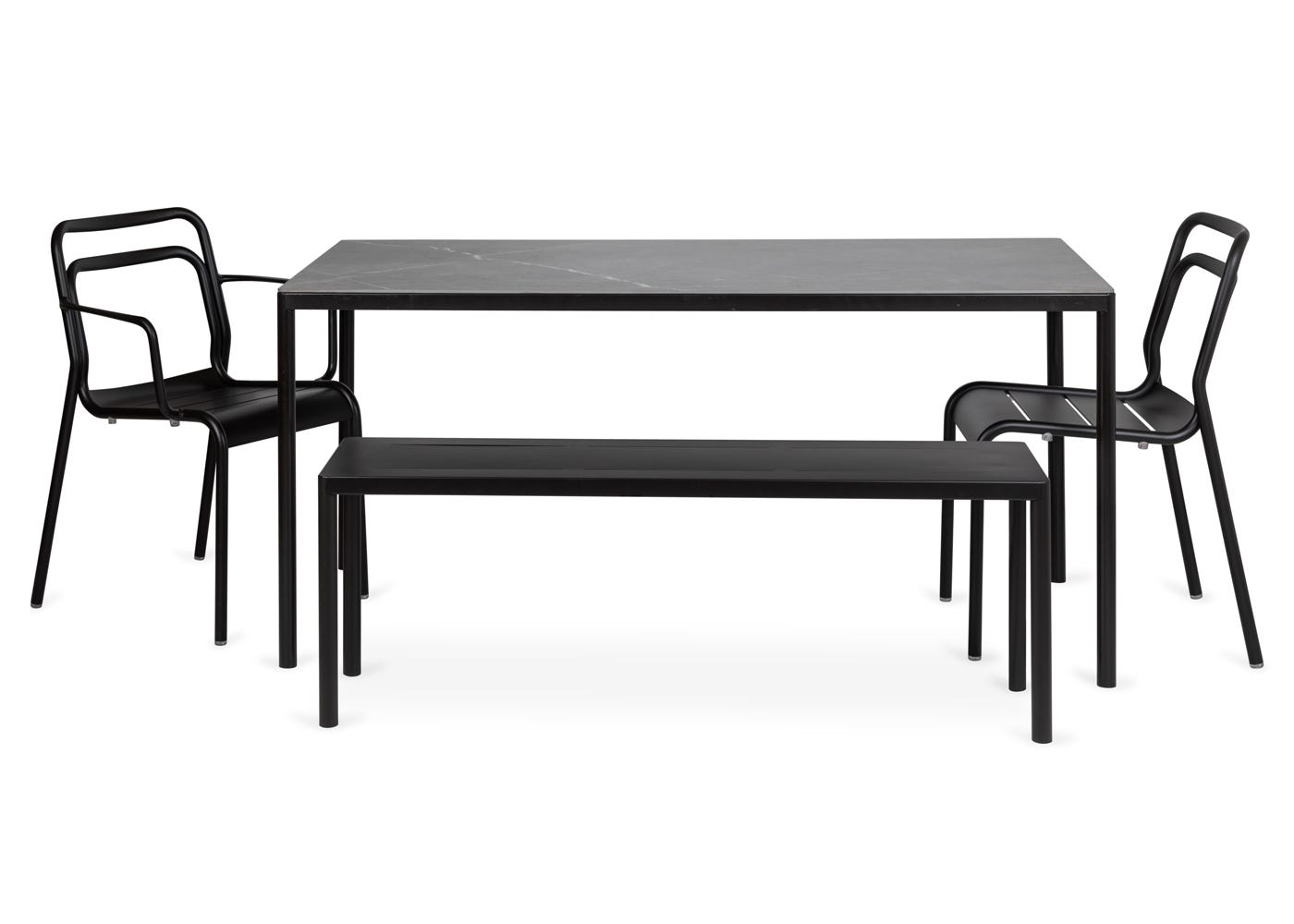 As shown: Petra outdoor dining table with match bench, armchair and side chair.