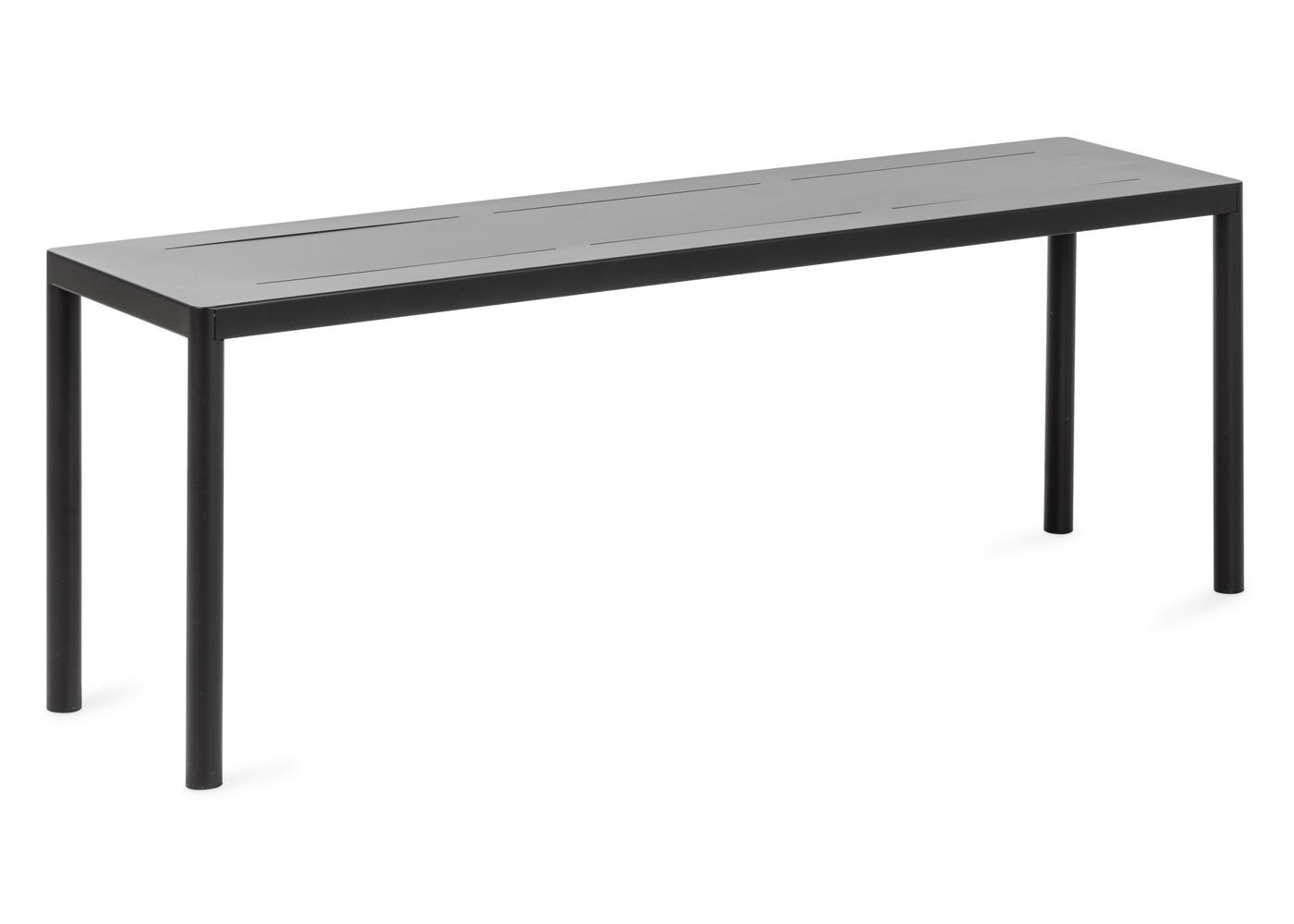 As shown: Petra outdoor bench in dark grey - Side view.