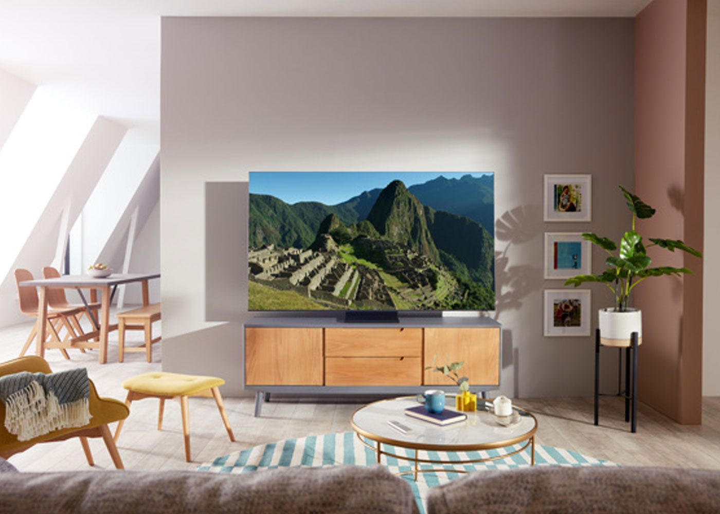 Aa shown: Samsung 2020 85 Q950TS Flagship QLED 8K HDR 4000 Smart TV - On stand.