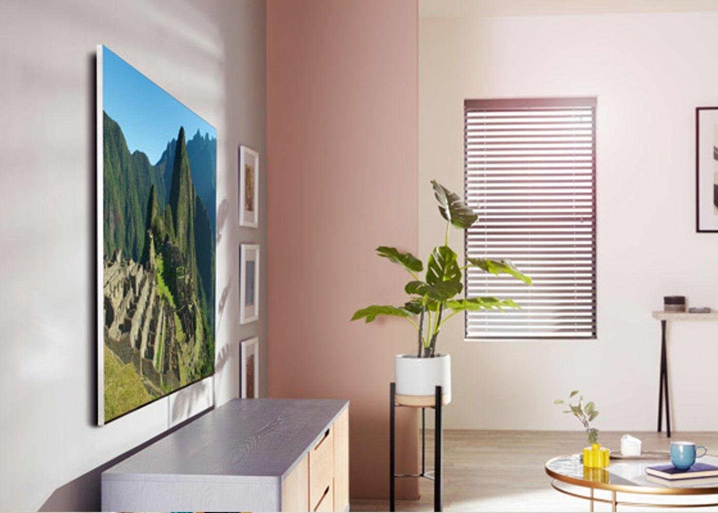 As shown: Samsung 2020 85 Q950TS Flagship QLED 8K HDR 4000 Smart TV - Wall mounted.