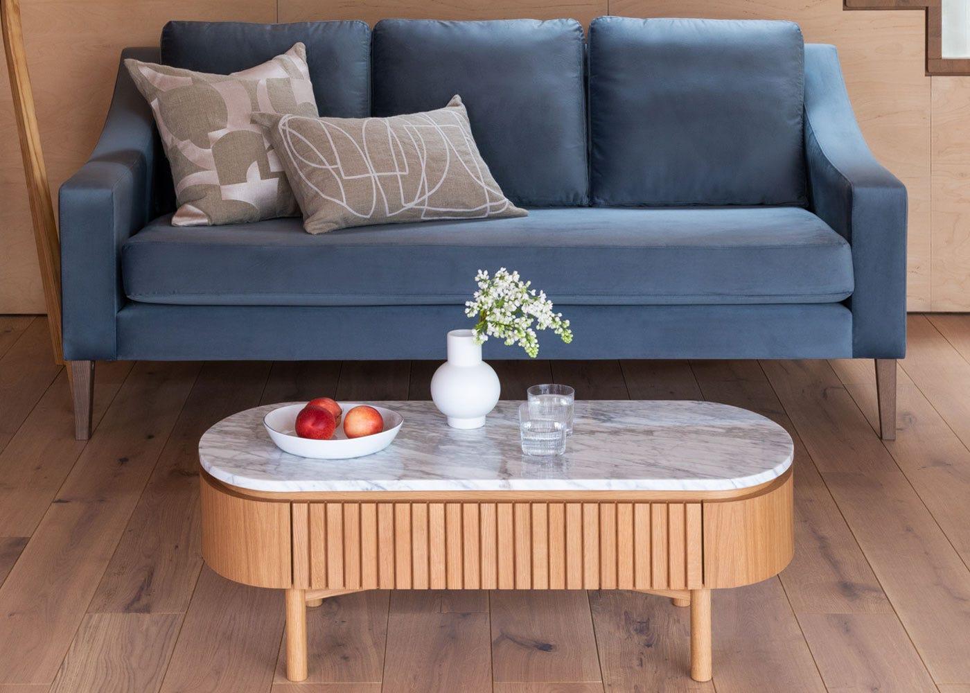 Remi Coffee table in oak, Richmond 3 seater sofa.