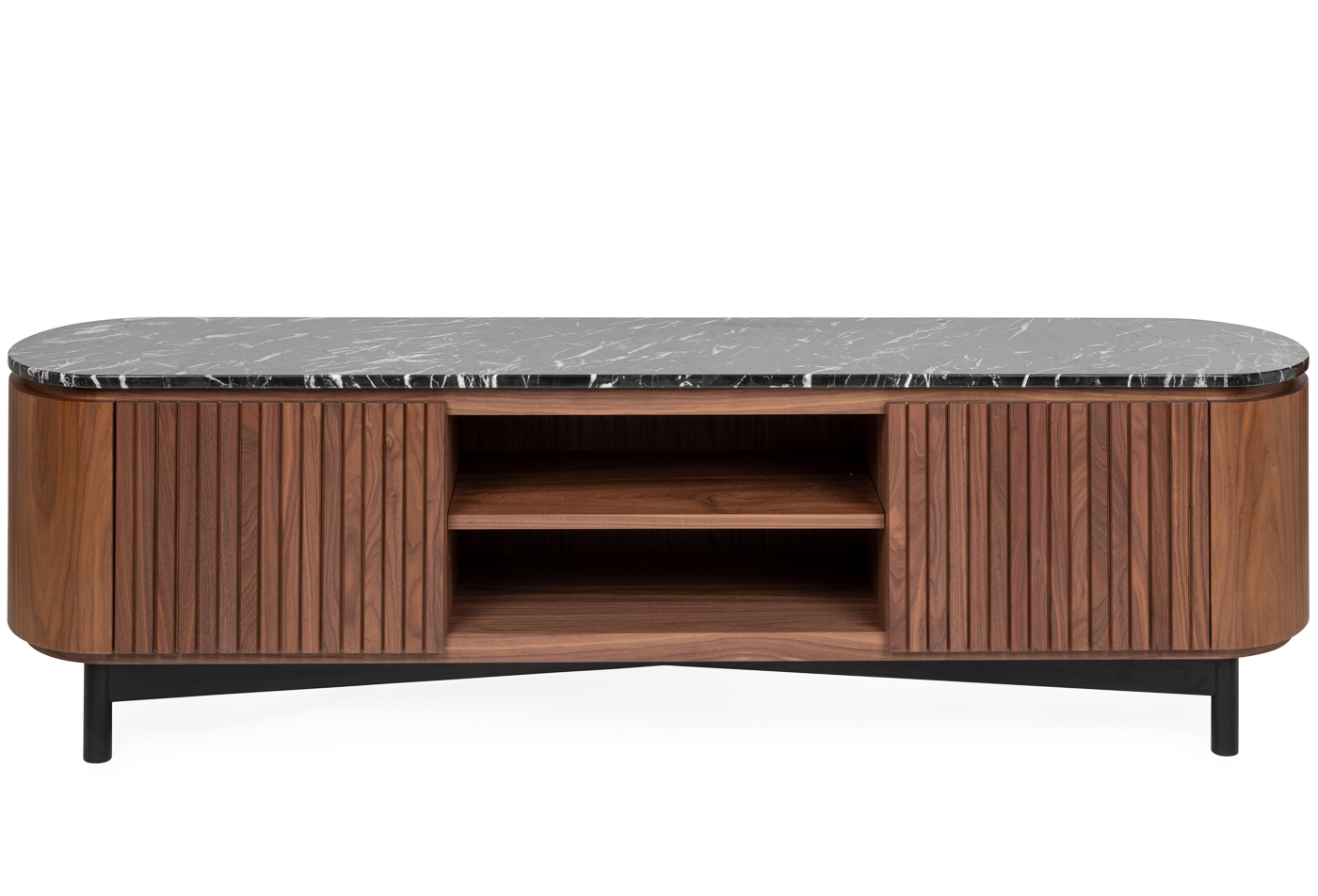 Remi AV unit walnut and black marble top large - Front profile.