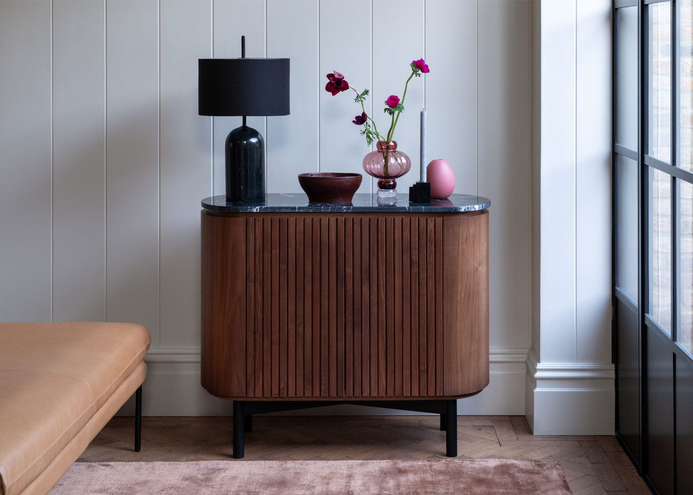 s shown: Manhattan table lamp, remi small sideboard walnut.