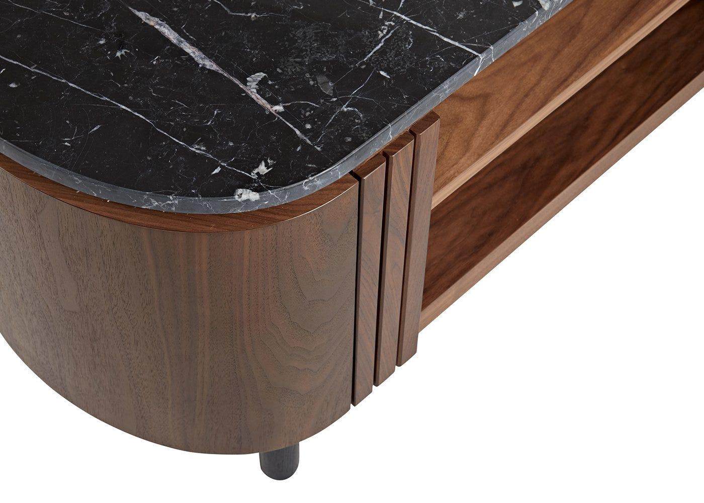 Black marble top.
