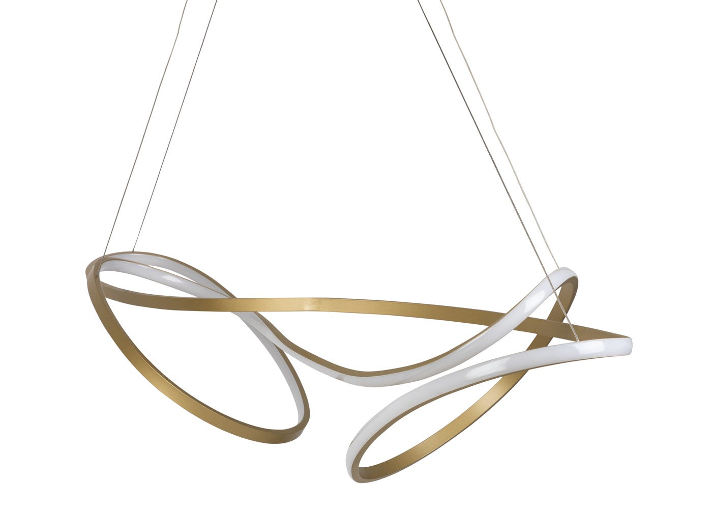 As shown: RIbbon LED Ceiling Pendant XL Satin Gold - Front profile.