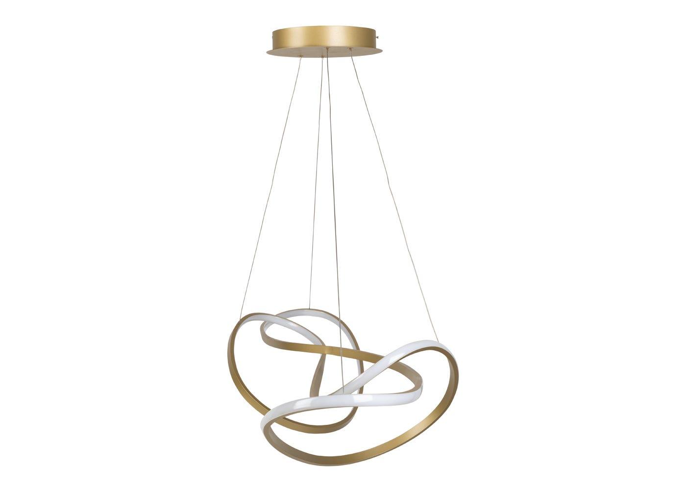As shown: RIbbon LED Ceiling Pendant XL Satin Gold - Side profile.
