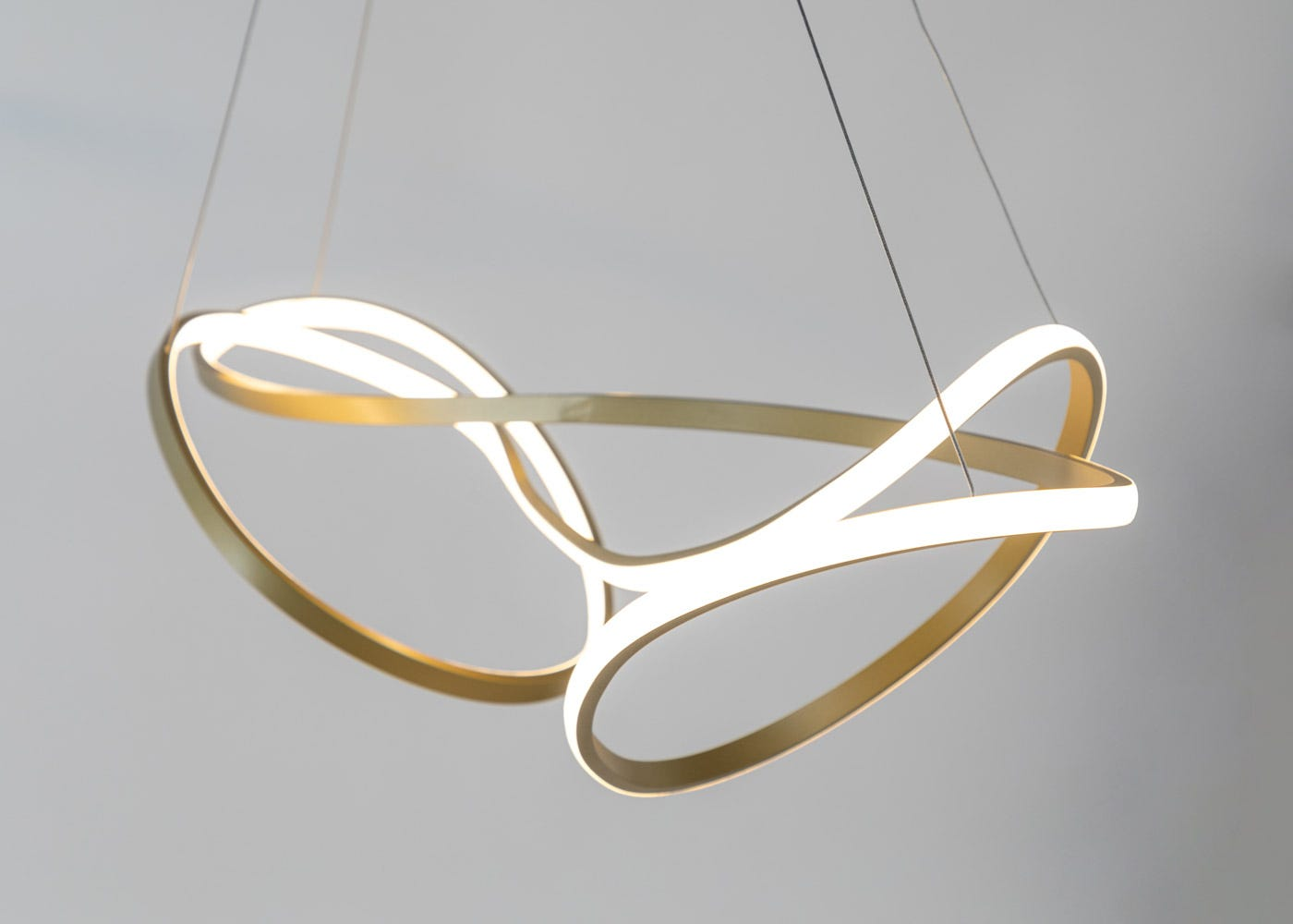 As shown: RIbbon LED Ceiling Pendant XL Satin Gold - Side profile (on).