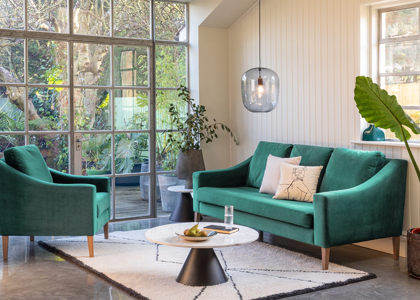 3 Seater Sofa and Armchair in Smart Velvet Sea Foam