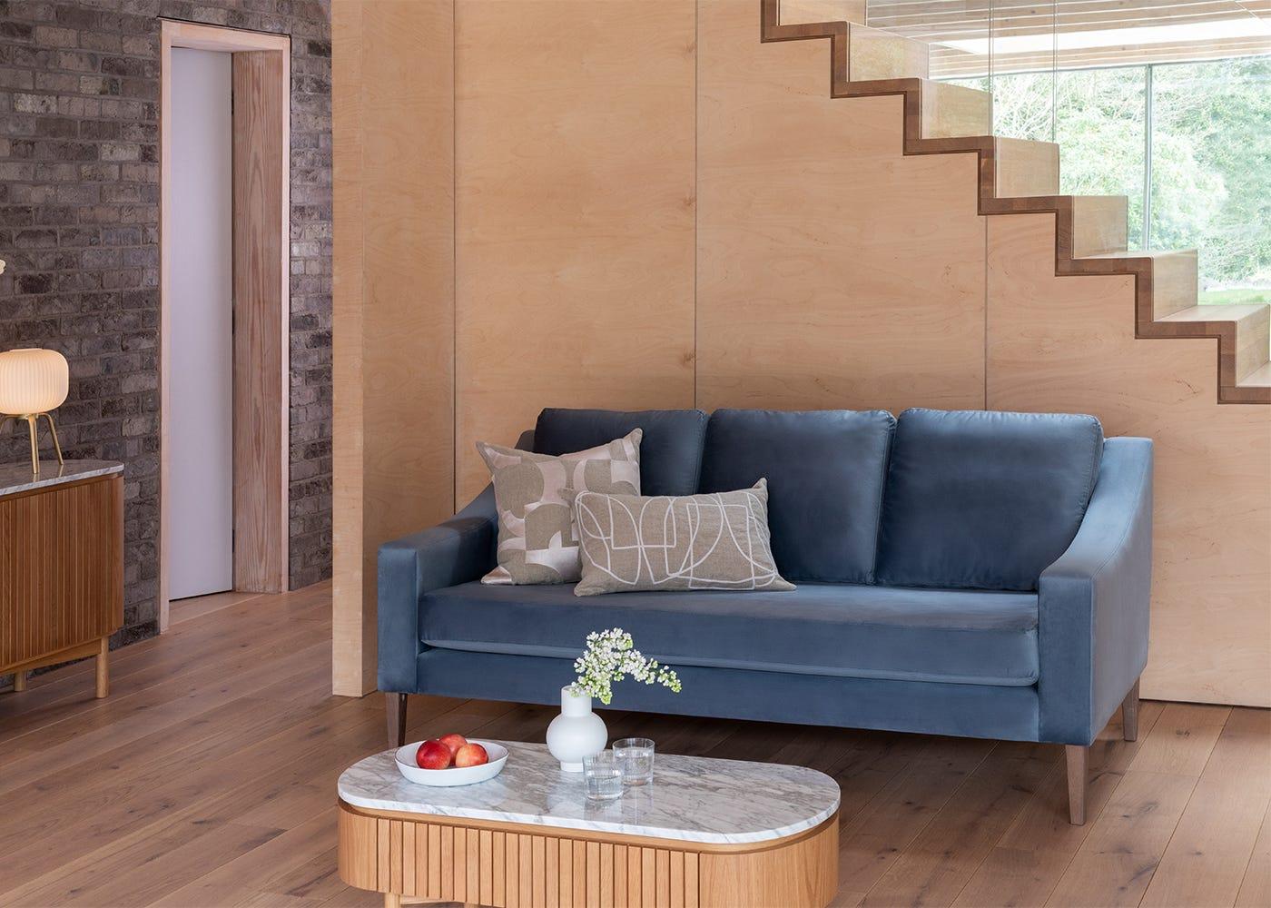 Richmond 3 Seater Sofa in Smart Velvet Pacific