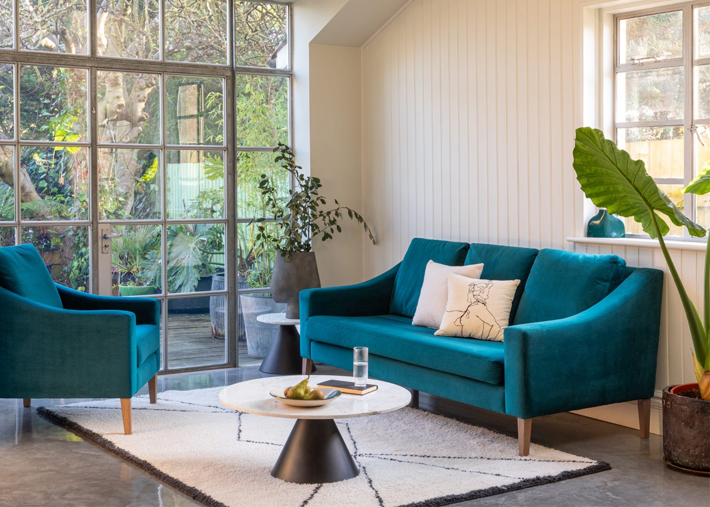 Richmond 3 Seater Sofa and Armchair in Smart Velvet Teal