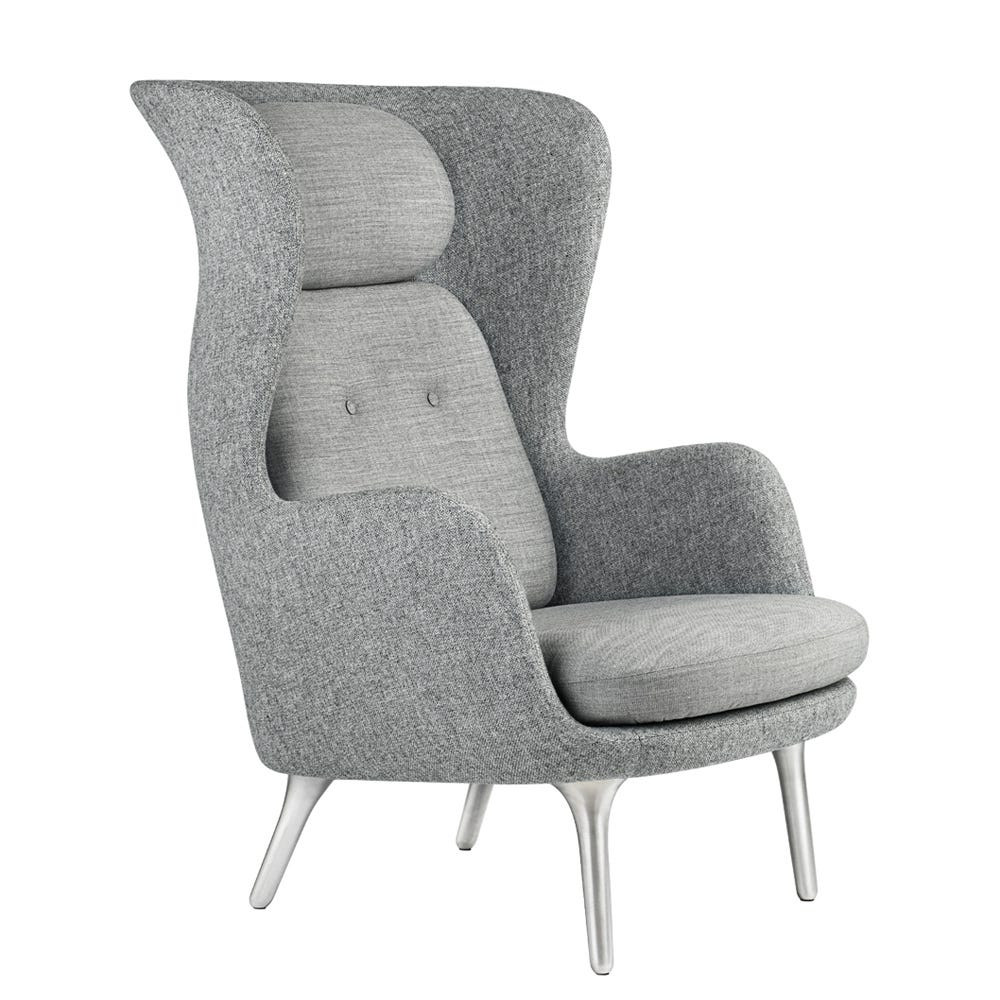 Ro Easy Shell in Hallingdal Light Grey 130 and cushions in Canvas 124 Grey